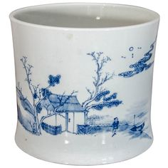 Blue and White Chinese Cachepot | From a unique collection of antique and modern porcelain at http://www.1stdibs.com/furniture/dining-entertaining/porcelain/