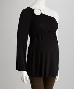 Take a look at this Black Maternity Asymmetrical Top - Women & Plus by Nicole Maternity on #zulily today!