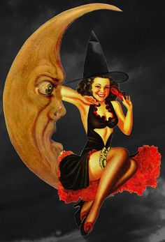 vintage halloween pinup--that moon should be a model. He's so pretty~