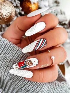 Cute Christmas Nails, Xmas Nails, Christmas Nail Designs, Holiday Nails, Christmas Makeup, Winter Christmas, Christmas Snowman, Cute Acrylic Nails, Cute Nails