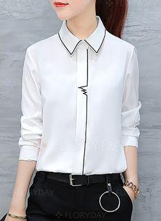 31ec3c4ed2c Blouses -  32.99 - Solid Casual Polyester Collar Long Sleeve Blouses  (1645241714) Camisa Feminina