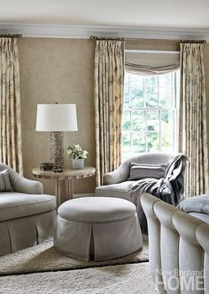 Peaceful fabrics and provocative silhouettes in the master bedroom make for an adults-only escape. Beautiful Bedrooms, Interior, Home, Dreamy Room, Interior Design, New England Homes, Master Bedrooms Decor, House And Home Magazine, Living Room Designs