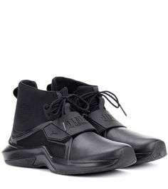Fenty by Rihanna's sneakers have been crafted with a leather upper, rubber sole and fabric around the ankle for a sock-like design. Wear this all-black style as an urban finish to your weekend looks. - Fenty by Rihanna Velvet Ankle Boots, Suede Boots, Leather Ankle Boots, Calf Leather, Rihanna Sneakers, High Top Sneakers, Leather Pumps, Leather Sneakers, Yeezy Laces