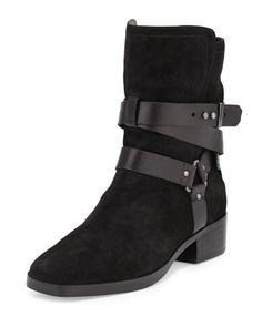 Riley Suede Moto Boot, Black by Pour la Victoire at Neiman Marcus.