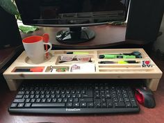 Wooden desktop Desk tidy wooden office desk Computer stand Try with stationery a cup iPhone Strong wood organizer wooden storage eco wood