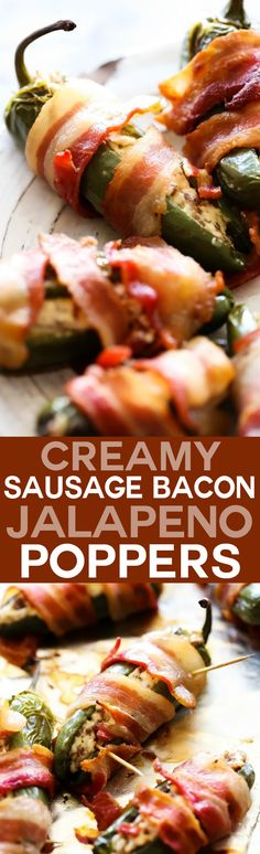 Creamy Sausage Bacon Jalapeño Poppers... These Jalapeño Poppers are extra special! They are stuffed with a creamy sausage filling and wrapped in crispy bacon! This will be the hit of any gathering!