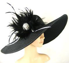 Kentucky Derby Hat Derby Hat Dress Hat Wide brim black Hat with Rhinestone Formal Dress Hat Wedding Tea Party Ascot  Horse Race. $74.99, via Etsy.