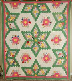 Outstanding Vintage 30's Grandmother's Flower Garden Stars Antique Quilt | eBay