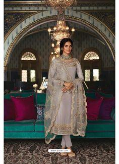 Grey Pure Tussar Silk Partywear Designer Suit Straight Cut Pants, Purple Accessories, Silk Suit, Designer Salwar Suits, Saree Look, Indian Ethnic Wear, Suits For Women, Dress Making, Party Wear