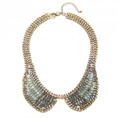 Brass Ox and Milky Stone Collar Necklace $68 www.capwell.co #jewelry