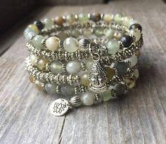Boeddha-licious Prehniet Gemstone Coil Memory Wire Wrap