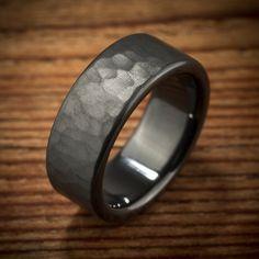 Men's handmade hammered rustic jet black zirconium wedding ring by Spexton Custom Jewelers.