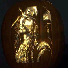 Captain Jack Sparrow - Editors' Picks: Best Pumpkin Carvings Ever Dremel Pumpkin Carving, Pumpkin Carving Contest, Amazing Pumpkin Carving, Pumpkin Carving Templates, Pumpkin Carvings, White Pumpkins, Painted Pumpkins, Carved Pumpkins, Halloween Boo
