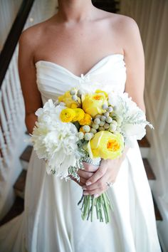 bridal bouquet -- yellow & white flowers. bling accents.