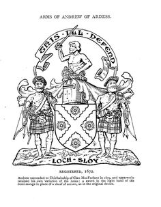 "The motto, ""This I'll Defend,"" above the crest is referring to the Crown of James VI, who also became James I of England, the first Stewart king of England in 1603. The slogan in the scroll ""Loch Sloy"" is the MacFarlane rallying cry."