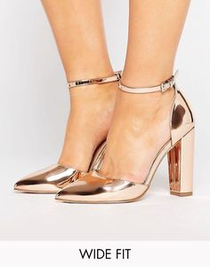 343a5495dca ASOS PENALTY Wide Fit Pointed Heels Metallic Gold Shoes