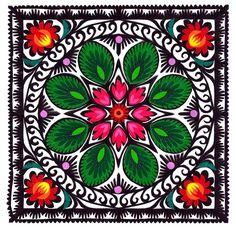 """Lowicz Wycinanki 6"""" - 15cm Floral Square"""
