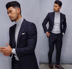 Royal Fashionsit is the best Men's Fashion Guide. Here you will find the latest trends on men's style. Get inspired with these outfits and leave your comment below. Blazer Outfits Men, Stylish Mens Outfits, Best Mens Fashion, Mens Fashion Suits, Mens Suits, Turtleneck Suit, Turtleneck Fashion, Teaching Mens Fashion, Mode Man