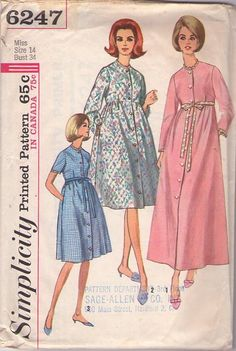 Simplicity 6247 Vintage 60's Sewing Pattern GRAND Mad Men Housewife Front Buttoned Coat Dress, House Dress, Quilted Empire Waist Robe, Bathrobe, Dressing Gown #MOMSPatterns