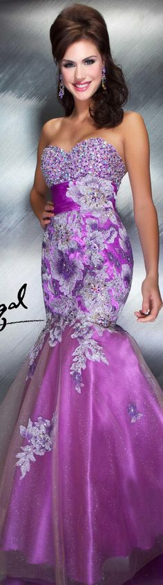Mac Duggal couture dress orchid strapless