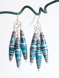 Paper bead earrings!