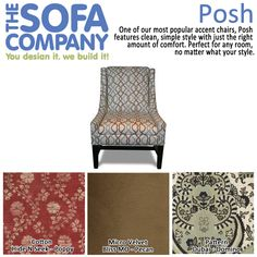 Product of the Week: Posh!  One of our most popular accent chairs, Posh features clean, simple style with just the right amount of comfort. Perfect for any room, no matter what your style.  #Posh #AccentChair #TheSofaCompany