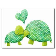 Turtle Hugs - cute mother and child green tortoises art Postcard