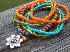Orange Energy - Lime, Turquoise and Wood Stretch Bracelets with Flower Charm by Angelof2, $27.00