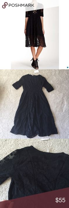 """Free people lace dress. Size 0 Nwt. Length 42"""". Size 0. Fits Xs. Lined. Hidden side zipper. Elbow length sleeves. No trade. Free People Dresses Midi"""