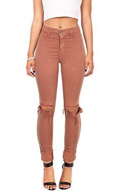Vibrant Women's Juniors Faded High Waist Jeans w Knee Rips (1, Mavue) ❤ ...