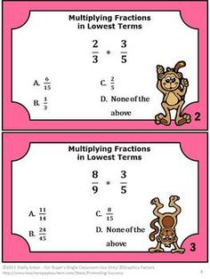 Fractions Task Cards FREE: In appreciation for all you do, here are 6 printable math center fractions task cards for multiplying fractions in lowest terms. You will also receive a student response form and answer key. I hope you enjoy this free download to practice multiplication of fractions.