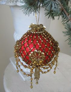 Victorian Inspired Red Satin Beaded Sequin Christmas Ball Ornament, Handmade 1970s. via Etsy.