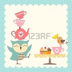 Lustige Eule geben einen sehr guten Tee Party  Lizenzfreie Bilder