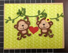Paper and String Monkey Wedding card for a wedding at the zoo. Cricut card