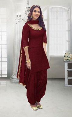New Maroon Color Rayon Stitched Patiala Suit (Maroon)You can find Designer punjabi suits and more on our website.New Maroon Color Rayon Stitched Patiala Suit (Maroon) Salwar Designs, Patiala Suit Designs, Patiala Salwar Suits, Salwar Suits Party Wear, Kurti Designs Party Wear, Churidar, Black Patiala Suit, Anarkali, Black Punjabi Suit