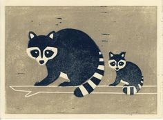 RACCOONS artwork illustration handpulled linocut block print wall room decor blue mother and baby. $20.00, via Etsy.