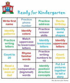 Things kids need to know for kindergarten