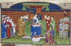 Detail of a miniature of Henry VI enthroned giving the earl of Shrewsbury the sword as constable of France, from Poems and Romances (the 'Talbot Shrewsbury book'), France (Rouen), c. 1445, Royal 15 E. vi, f. 405r