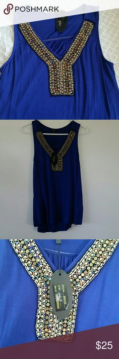 Beautiful blue beaded tank top Absolutely stunning top, viscose and spandex blend. Bright blue color with gold and multicolored beading down vneck front. cupio Tops Tank Tops