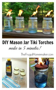 DIY Mason Jar Tiki Torches~You can make your own tiki torch by using a jar, oil, and a wick.