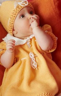 Sweet Baby Dress, Hat and Booties--free pattern from Red Heart Yarn
