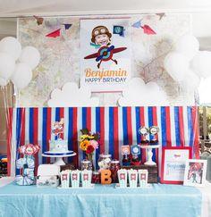 Boys Airplane Themed Birthday Party Dessert Table Ideas
