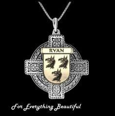 Irish Celtic Cross Irish Coat of Arms Family Crest Two Tone Pendant