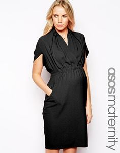 Image 1 ofASOS Maternity Pencil Dress In Crepe With V Neck