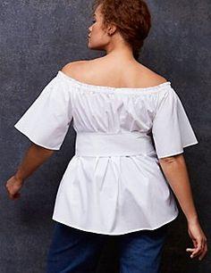 86644be484346 Belted Off-the-Shoulder Top by GLAMOUR X LANE BRYANT - alternate image  Shoulder