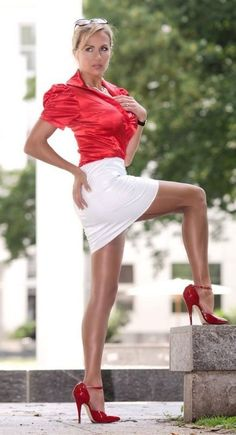 White Latex Skirt Red Satin Blouse Sheer Stockings and Red Ankle Strap High Heels Sexy Legs And Heels, Sexy High Heels, Classy Heels, Great Legs, Beautiful Legs, Sexy Older Women, Sexy Women, Sexy Outfits, Sexy Rock