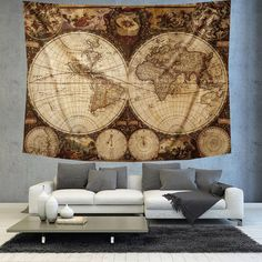 Rustic golden brown world map tapestry boho world map wall decor vintage old world map tapestry boho world by christinedecorshop gumiabroncs Image collections