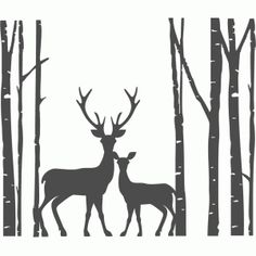 Silhouette Design Store: Birch Trees With Deer Family Silhouette Design Store - View Design Silhouette Design, Hirsch Silhouette, Silhouette Cameo Projects, Silhouette Painting, Silhouette Studio, Tree Stencil, Stencils, Deer Family, Family Trees