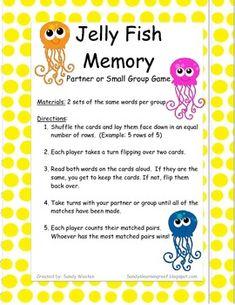 Jellyfish Sight Word Memory Game *Freebie* RF.K.3, RF.1.3, RF.2.3