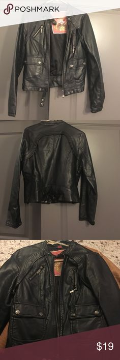 BLACK leather jacket- Medium Juniors size M - Faux Leather Jackets ...